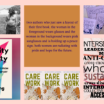 A collage including a still from the film 'Crip Camp', the book cover for 'Disability Visibility' by Alice Wong, a poem from the alt-text as poetry sight, the book cover for 'Care Work', a photograph of copies of 'Sick Magazine' on top of each other, a graphic of the '10 principles of disability justice' by sins invalid