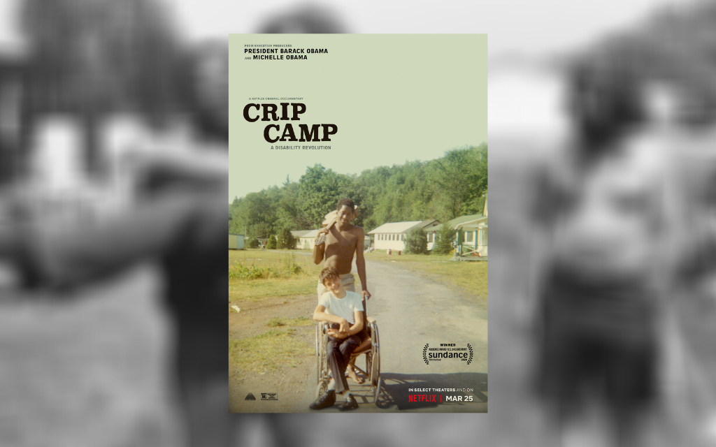 The poster for 'Crip Camp' on top of a blurred still from archive footage in the film
