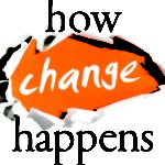 How change happens book cover. Town paper with change coming out of it.