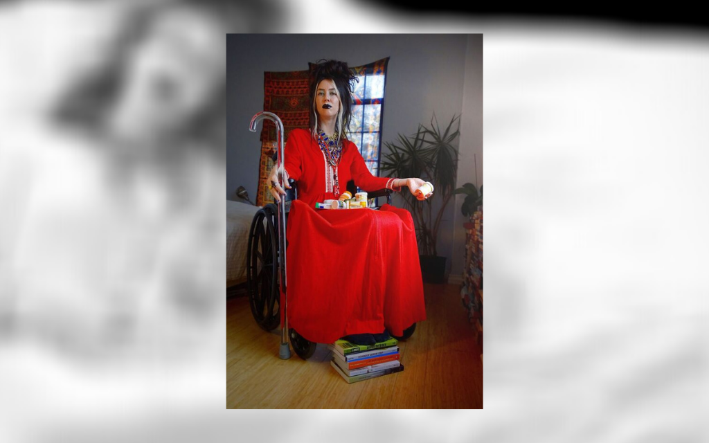 A portrait of Johanna Hedva on top of a blurred image of her lying down with medication