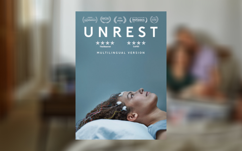 The film poster for 'Unrest' on top of a blurred photo of Jennifer Brea and her partner