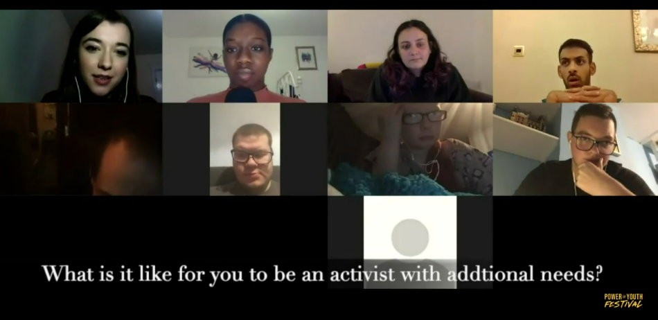 """Screenshot of an online panel discussion between members of Coventry Youth Activists, with the question """"What is it like for you to be an activist with additional needs?"""" captioned"""