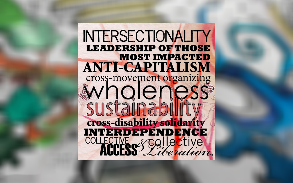 The principles of disability by Sins Invalid on top of a blurred image of a completed colouring book from one of their resources