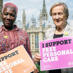 Margaret and Patricia , Independent Age campaigners on the day they delivered the free personal care petition to Downing Street, Image: Independent Age