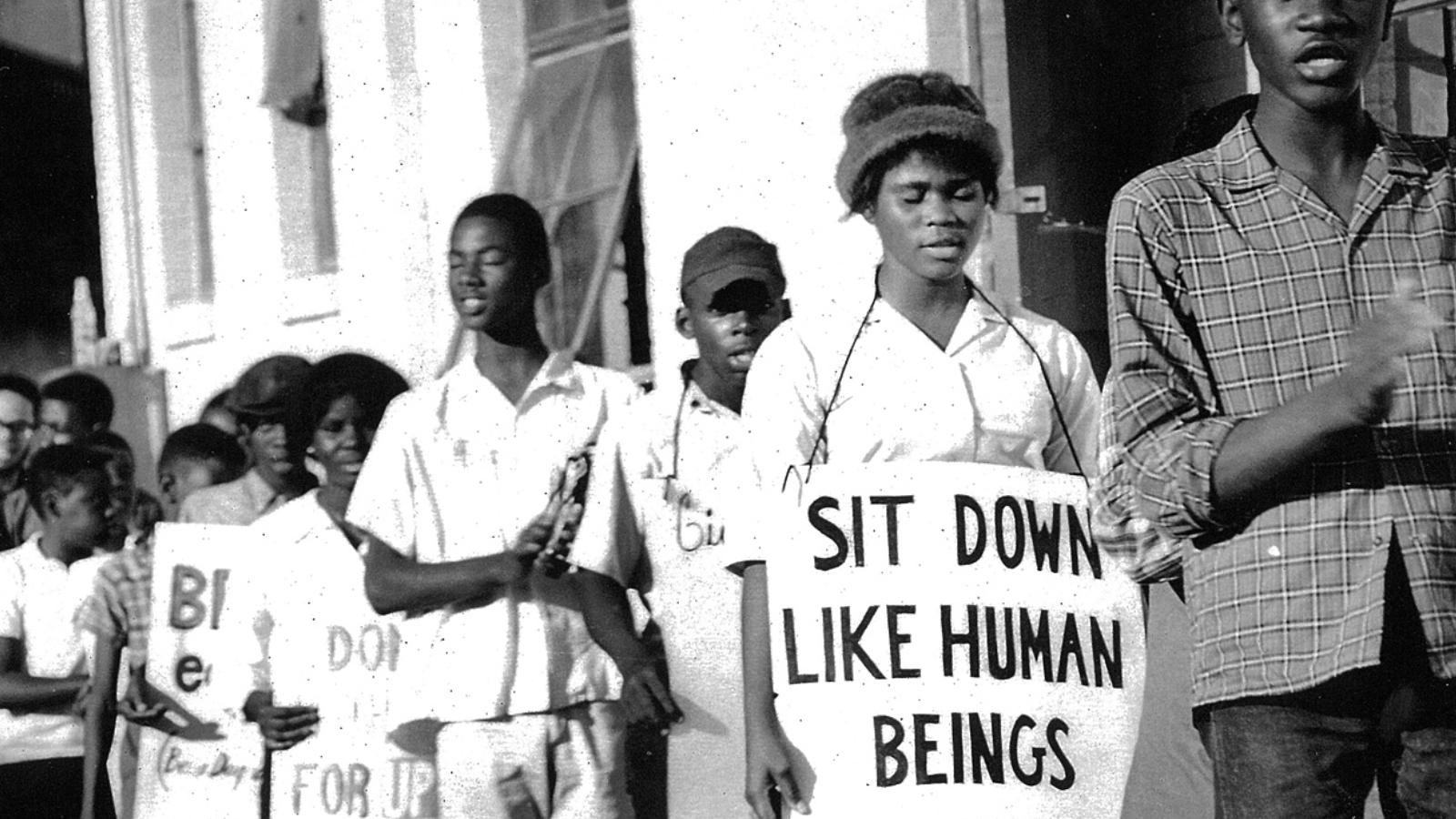 SNCC members participating in protest in Arkansas.