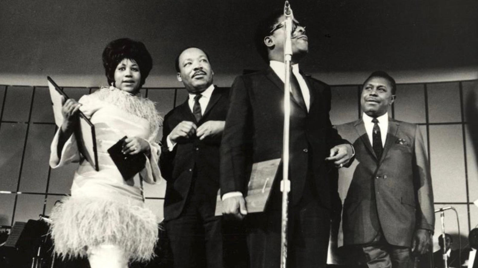 Aretha Franklin, Martin Luther King Jr. her father C.L. Franklin at Cobo Image: Pinterest