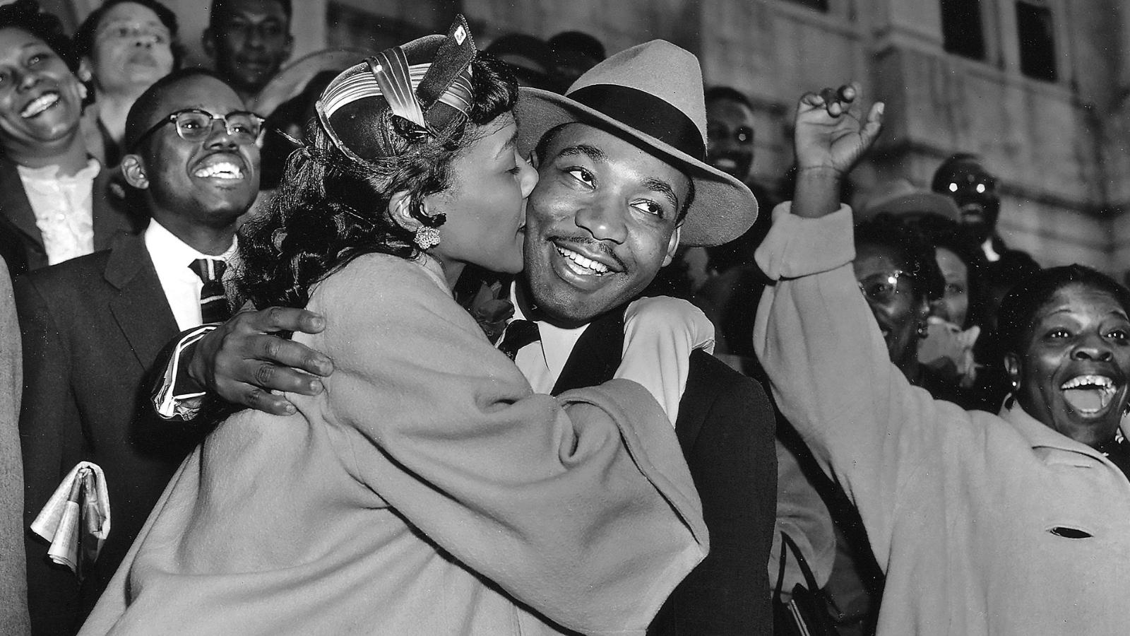 Coretta Scott King welcomes her husband, Dr. Martin Luther King, Jr