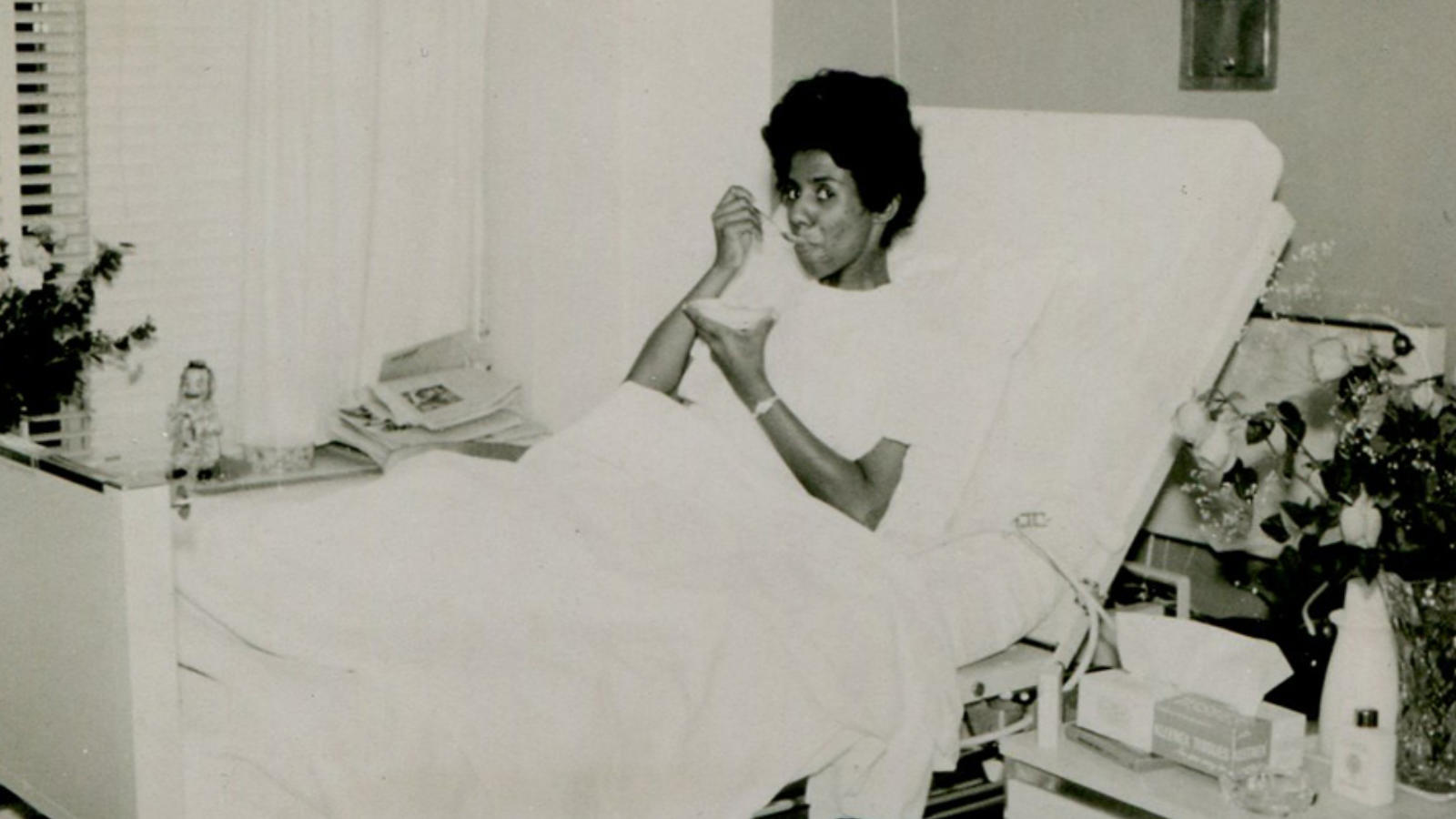 Lorraine Hansberry in hospital eating ice-cream Image: Lorraine Hansberry Literary Trust