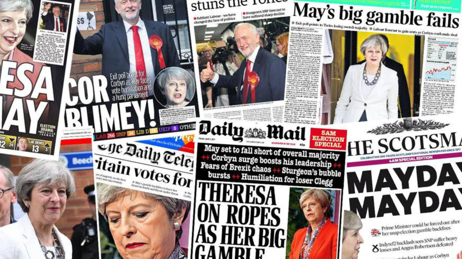 2017 General election results: Newspapers react with shock to Theresa May's hung Parliament chaos, Image: Evening Standard