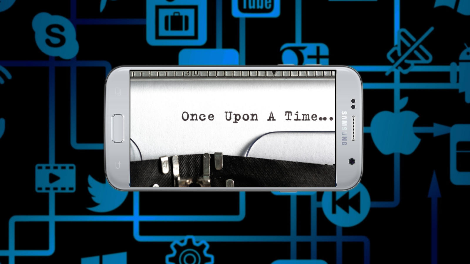 A phone with text...once upon a time
