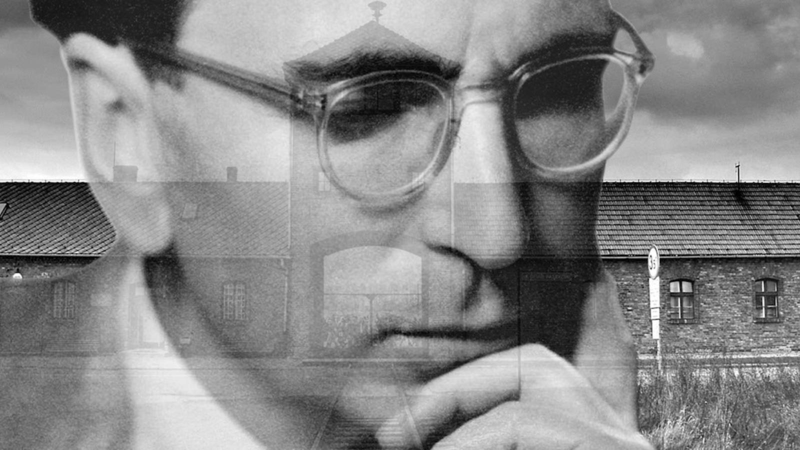 A photo of Viktor Frankl is superimposed onto another photo of Auschwitz Concentration Camp.