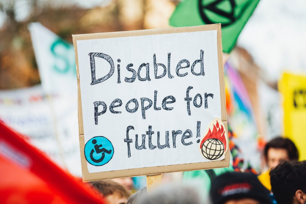 A placard at a Climate Strike saying 'Disabled People for future'