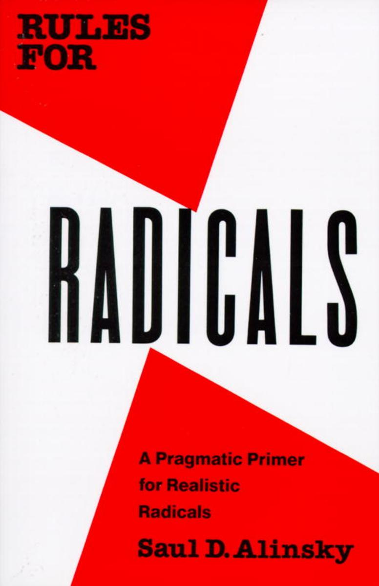 Rules for Radicals book cover - its not the best you could imagine. Just red and white geometric shapes.